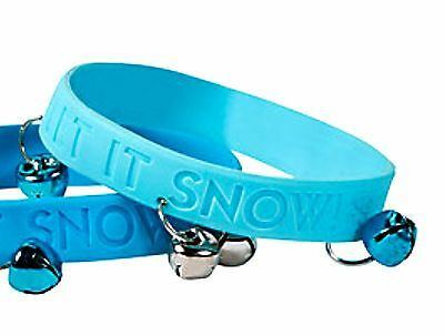 "24 BLUE ""Let It Snow"" JINGLE BELLS Rubber Bracelets Christmas Wholesale lot"