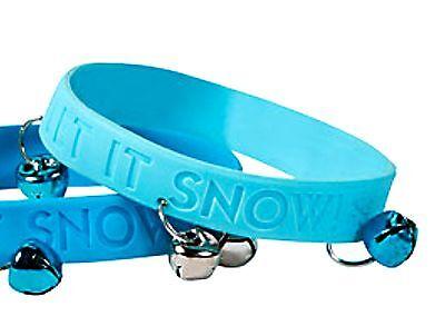 """60 BLUE """"Let It Snow"""" JINGLE BELLS Rubber Bracelets Christmas Wholesale lot"""