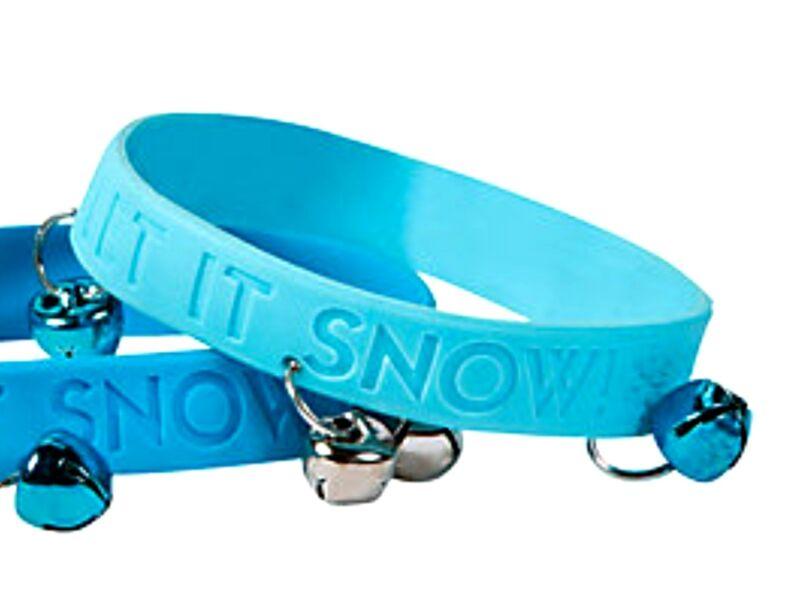 """48 BLUE """"Let It Snow"""" JINGLE BELLS Rubber Bracelets Christmas Wholesale lot"""