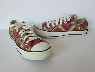 Converse Plaid Sneakers (Converse Womens All Star Pink Black & Tan Plaid Canvas Sneakers Shoes 7)