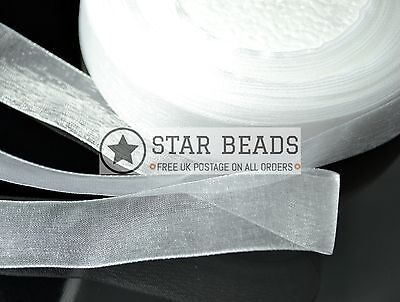 22 METER ROLL OF ORGANZA RIBBON 20MM WIDE - WHITE