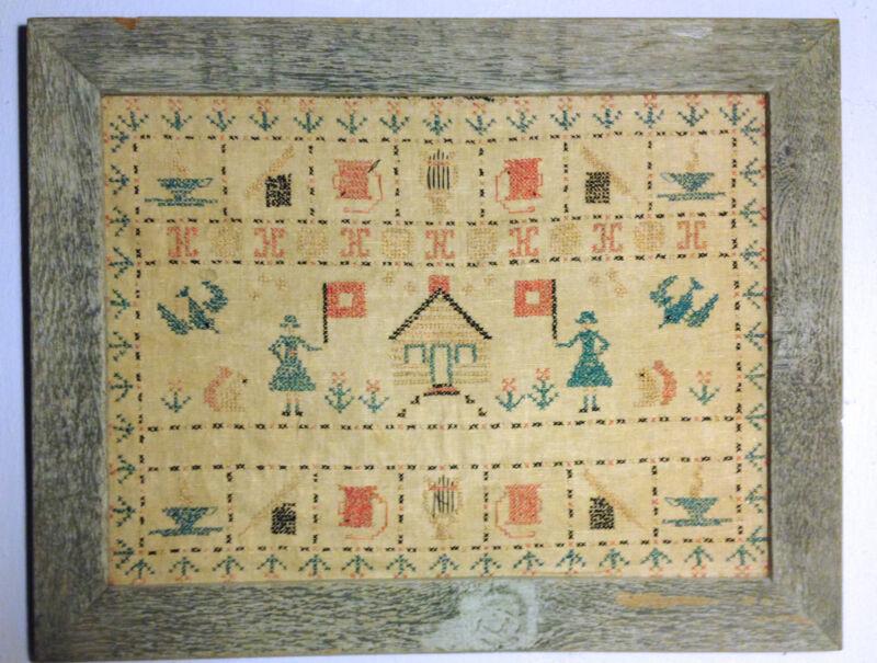 Vtg Antique Framed Cross Stitch Women