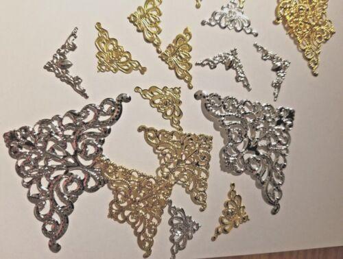 CraftbuddyUS 40 Assorted Silver/Gold  Filigree Metal Decorative Corner Emb