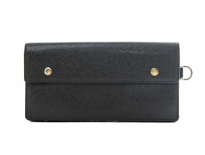 Authentic Louis Vuitton Accordeon Black Taiga leather Wallet M30992