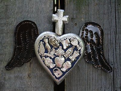 Silver & Blue Wood Heart Cross & Milagros & Tin Wings, Folk Art Michoacán Mexico