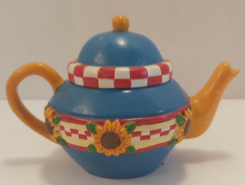 Mary Engelbreit Miniature Teapot Blue & Yellow Sunflower Trinket Box Candle...