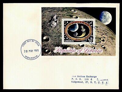 DR WHO 1971 LIBERIA FDC SPACE APOLLO 14 S/S C244365