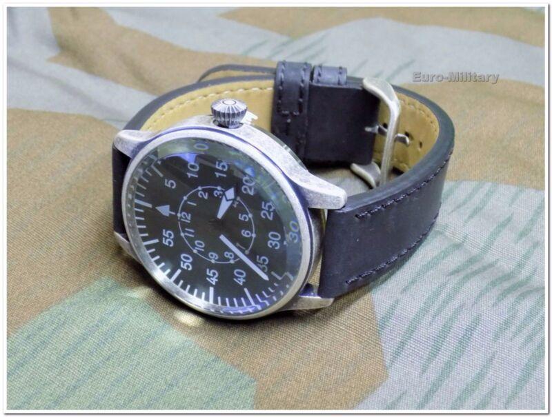 WW2 German Luftwaffe ME-109 Pilot Watch - Black Leather Strap - Vintage - New