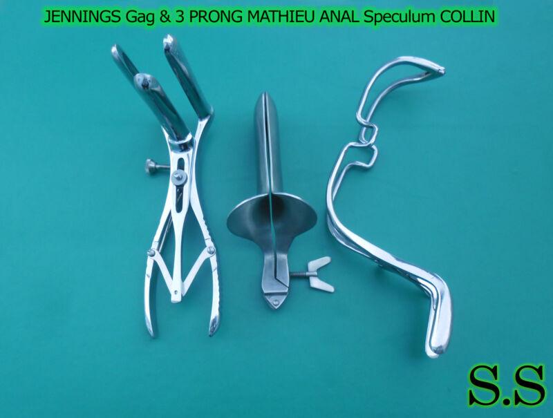 """JENNINGS Gag 6"""" 3 PRONG MATHIEU ANAL Speculum COLLIN Vaginal Speculum Small"""