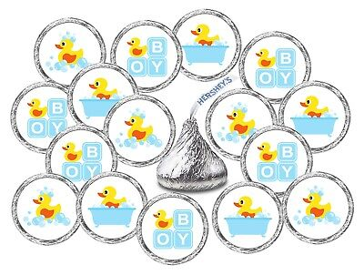 324  Blue Rubber Ducky Theme Baby Shower Favors Stickers Its a Boy  Rubber Duck (Boys Baby Shower Themes)