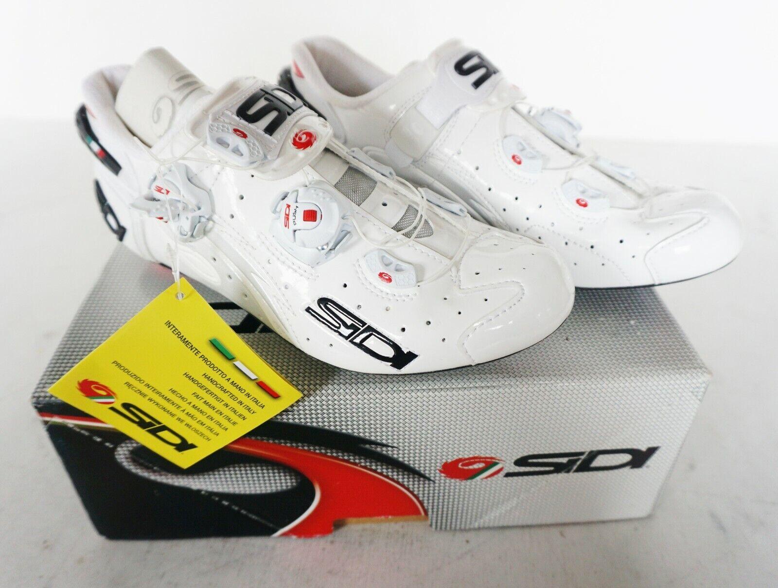 New SIDI WIRE Carbon Road Bike Cycling Shoes White White EU38.5-42