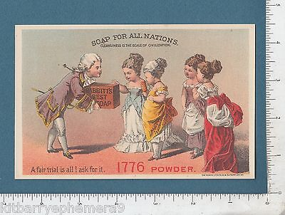 8060 Babbitt Soap trade card 1776 Colonial clothes clothing women acrostic poem