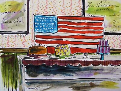 Original Bakery Sketch Memorial Day food cakes pies baked goods Impressionism