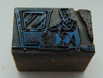 Printing Letterpress Printers Block Man With Old Tvs