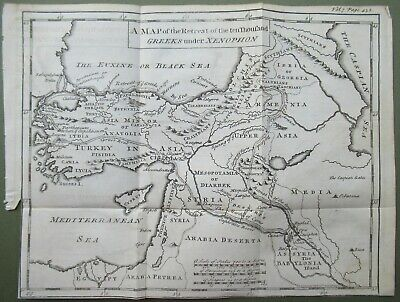 Antique Map Retreat of the 10000 Greeks under Xenophon Asia Minor Syria 1747