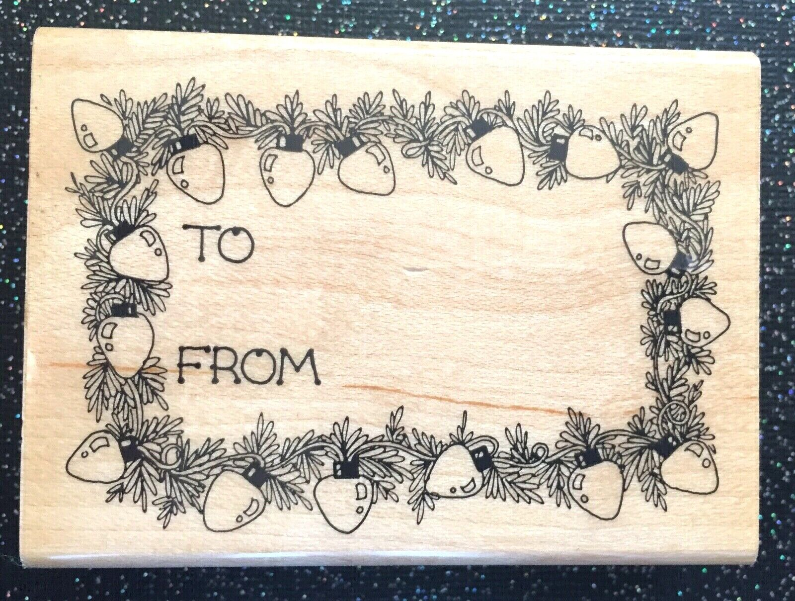 Vintage Rubber Stamp Christmas Light Gift Tag By Hero Arts 2 1/2 X 3 1/4  - $5.75