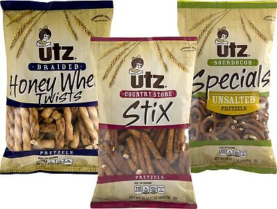 Utz Honey Wheat Twist, Stix & Unsalted Sourdough Pretzel Var
