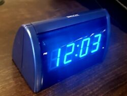 Small LED Digital Alarm Clock with snooze - Electric Blue