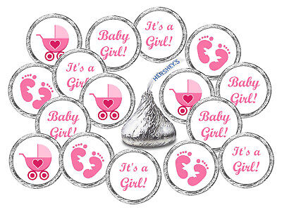 108 KISSES LABELS BABY SHOWER PARTY ITS A GIRL PINK FAVORS STICKER FOOTPRINTS