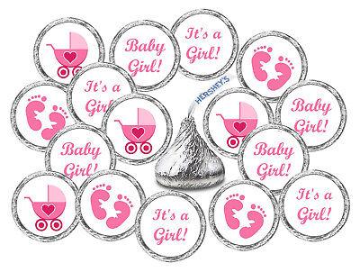 108 KISSES LABELS BABY SHOWER PARTY ITS A GIRL PINK FAVORS STICKER FOOTPRINTS - Babyshower Favors