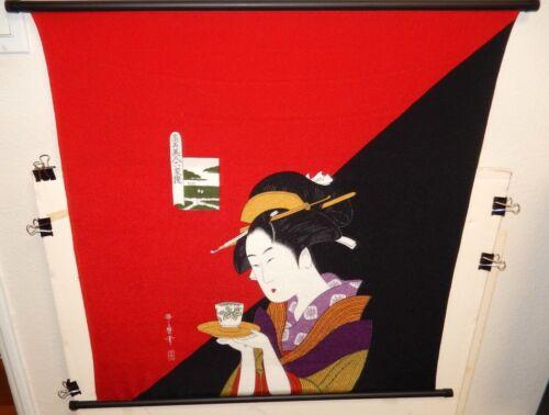 KITAGAWA UTAMARO JAPANESE GEISHA SILK TAPESTRY SCROLL PAINTING SIGNED