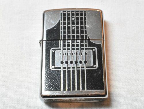 Vintage Collectible Zippo 11 Lighter Bradford Made In USA w/Design Guitar