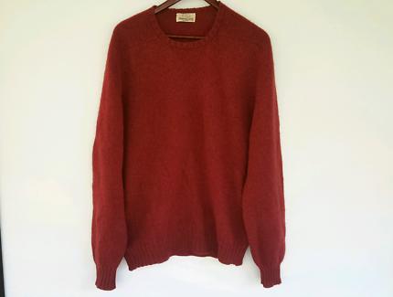 Pure Scottish Wool Sweater Auburn Red Crew Neck Top 44/L RRP $180