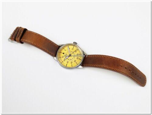WW2 German Luftwaffe ME-109 Pilot Watch - Brown Leather Strap - Vintage - New