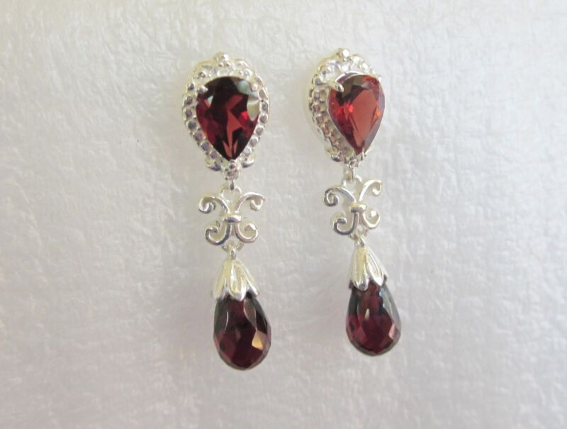 Garnet Earrings, 6cts, 925 Sterling Silver
