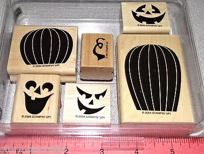 Carving Faces Pumpkins Halloween (Pumpkins Halloween Scary Faces Rubber Stamp Set by Stampin Up Carved &)
