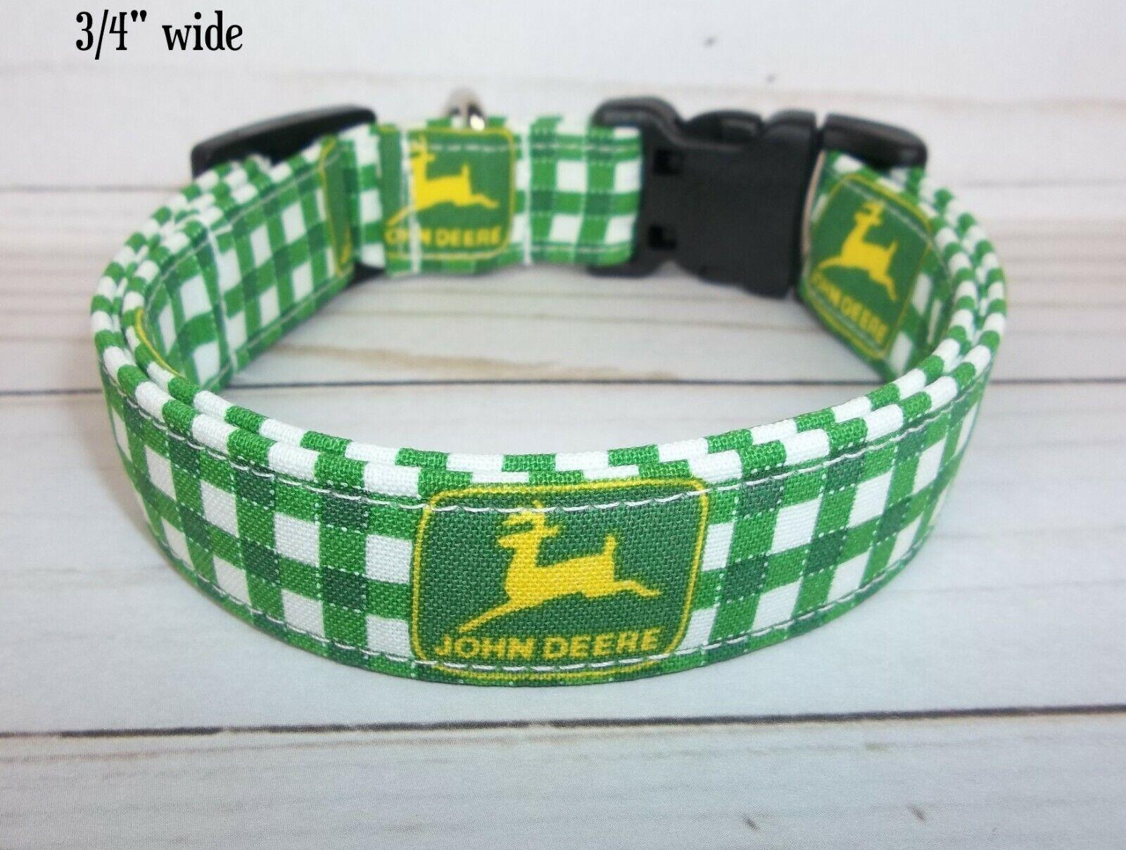 Green White Check Terri's Dog Collar handmade with John Deer