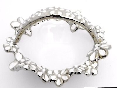 Elegant ceramic silver & white flower basket/ Gift /Home decorative