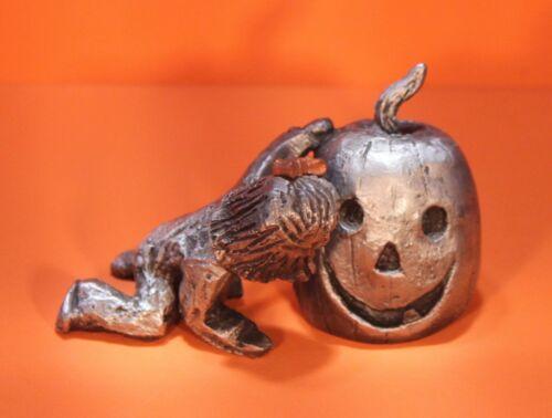 HALLOWEEN Hudson pewter Walli jack-o-lantern little girl copper bow pumpkin