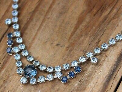 60s -70s Jewelry – Necklaces, Earrings, Rings, Bracelets Vintage Necklace Rhinestone Blue 1960s Rhinestone Retro 1950s Short Jewellery $34.14 AT vintagedancer.com