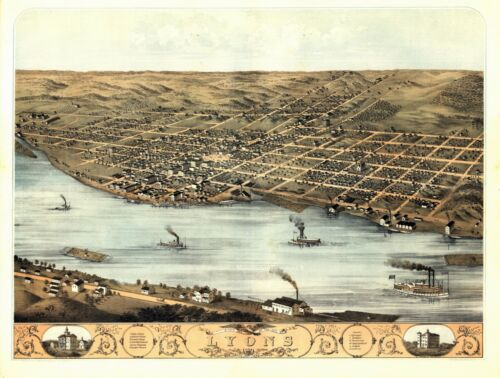 1868 LYONS CLINTON IOWA panoramic map GENEALOGY poster IA15