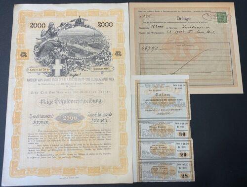 1908 Austria Vienna 2000 Kronen Bond  Uncancled With Cupons & Receipt