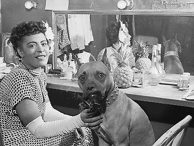 Billie Holiday w/ Boxer Dog, dressing room, Jazz Music, Lady Day, 14