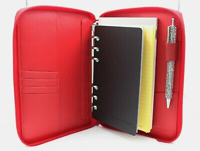 New Franklin Covey Red Pebbled Leather Binder Organizer Pen Paper Zipper Nwot