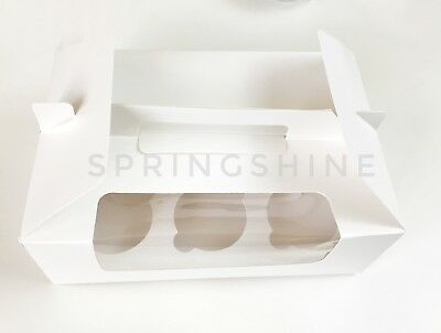 Simple White Cupcake Boxes w/ Window & Handle & Inserts | pack of 6 (Cupcake Inserts)