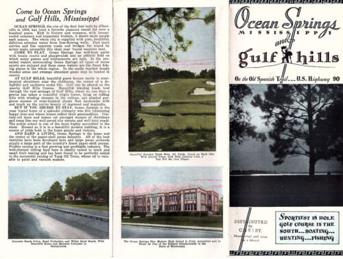 Ocean Springs & Gulf Hills Mississippi Vintage Travel Brochure Circa 1930