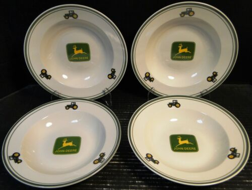 "Gibson John Deere Soup Bowls 9"" Salad Pasta Logo Tractor Set of 4 Excellent"