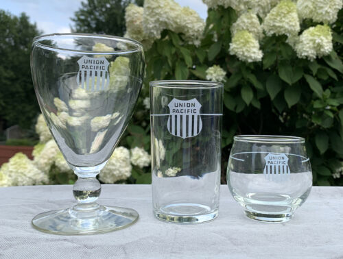 3 Union Pacific Railroad Glasses Stemmed Juice Water Etched UPPR Logo 4 8 10 oz
