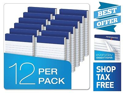 12 Pack 3 X 5 Narrow Perforated Writing Pads 50 Perforated Sheets Per Pad