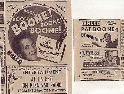 "Two original 1957 newspaper ads for movie ""Bernadine"" starring Pat Boone"