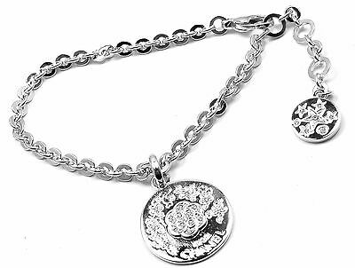 Authentic! Chanel Camellia Comete 18k White Gold Diamond Link Charm Bracelet