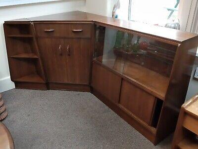 Mid-Century Gplan E Gomme 3 Section Corner Bureau Glazed Cabinet & Corner Shelve
