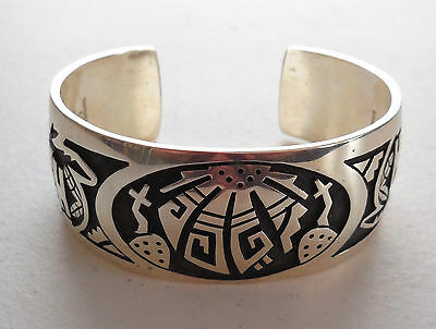 Ben Mansfield Hopi Overlay Bracelet, Signed, Intricate Design, Kachinas, Silver