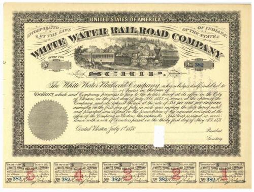 White Water Rail Road Company. Scrip Bond Certificate