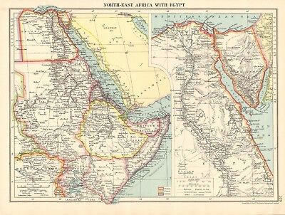 1925 ca MAP - NORTH EAST AFRICA WITH EGYPT