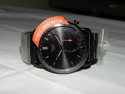 Fossil Q Commuter Black Stainless Steel Hybrid Smartwatch NEW FTW1148